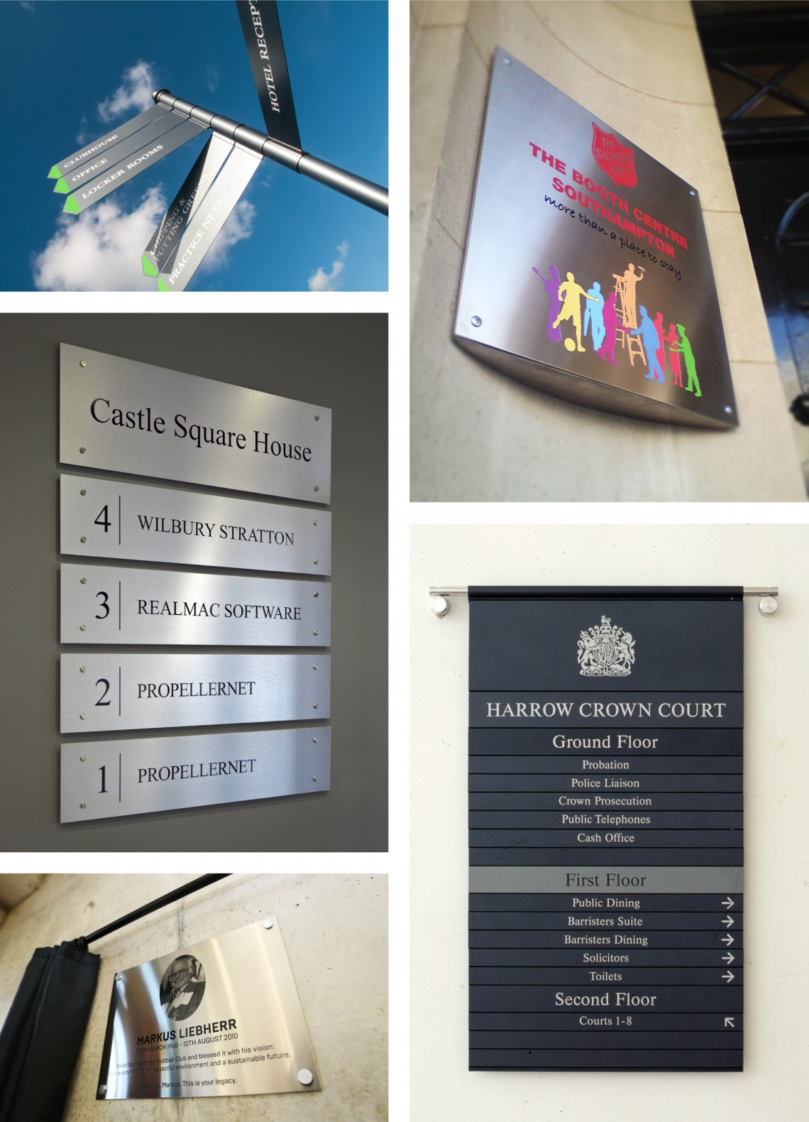 Stainless steel architectural plaque signage and fingerpost way finding sign