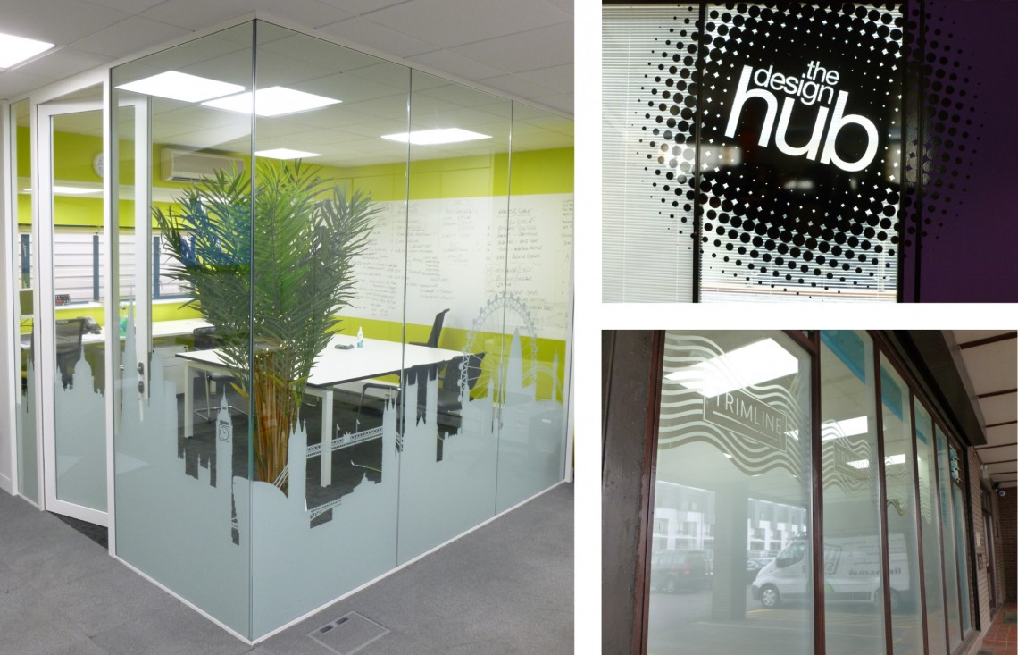 Various cut etched vinyl and printed PET film applications