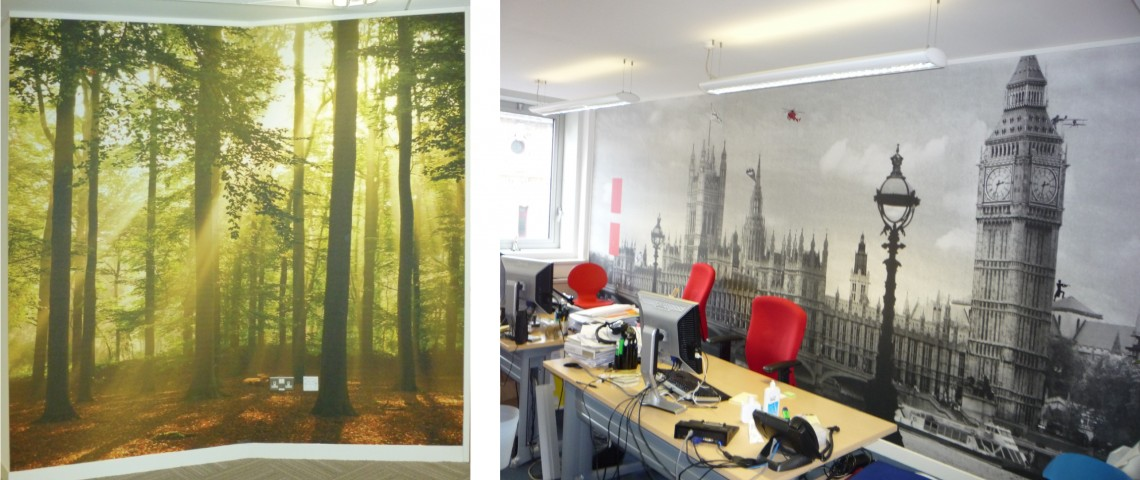 Printed wall graphics for office space in London