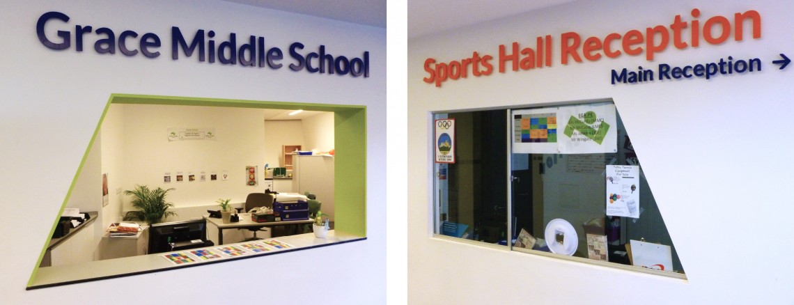 Wall mounted laser cut acrylic signage for Evelyn Grace Academy