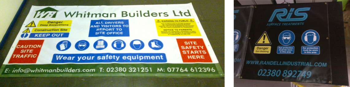 Digitally printed site health and safety banners